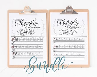 Modern Calligraphy Practice Worksheets | Capitals & Lowercase BUNDLE