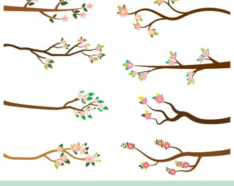 Pink flower branch clipart, Blossom tree branch clip art, Digital spring summer flowering branch, Floral branch with leaves, Wedding clipart