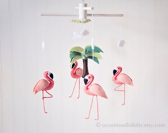 Coral Pink Flamingo Mobile, Small Flamingo Version, Wool Felt Mobile, Baby Girl Nursery Flamingo Party Baby Shower