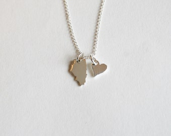 "Heart In Illinois, Sterling Silver Illinois Necklace, I love Illinois, 18"" chain, Illinois Necklace"