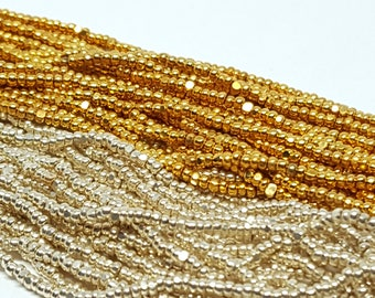 Gold and Silver Seed Beads Vintage Czech Real Gold and Silver Over Glass