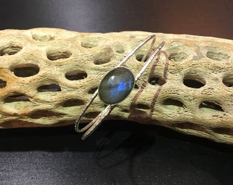 Labradorite Rose cut oval handcrafted cuff bracelet. Textured sterling silver.