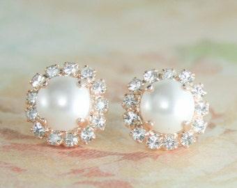 rose gold pearl earrings,rose gold wedding jewelry,rose gold earrings.rose gold bridal earrings,rose gold stud pearl earrings,pearl earrings