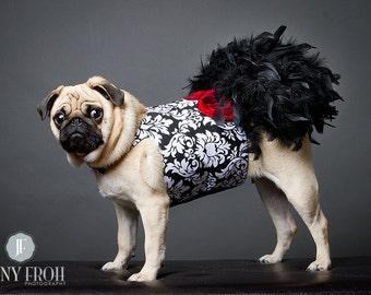 Dog Feather Dress - Dog Wedding Dress - Black Damask - Dog Harness Dress - Large Dog Dress - Small Dog Dress - Pug Clothes - Yorkie Clothes