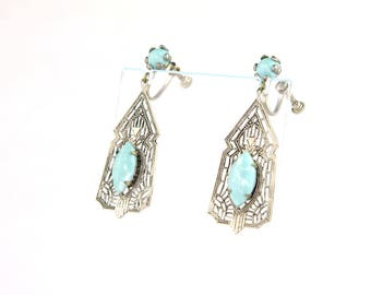 Vintage Art Deco Filigree Earrings   Filigree Turquoise Art Deco Earrings   Screw Back Filigree Drop Earrings