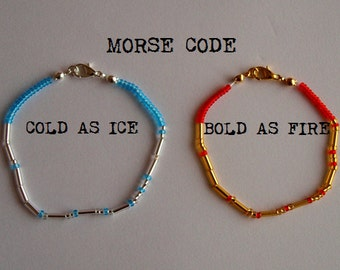 Cold As Ice; Bold As Fire - Two Enjolras Themed Morse Code Bracelets - Les Misérables - Silver / Gold