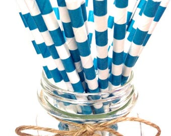 25 Peackock (Teal) Stripes paper straws / baby bridal shower decorations /candy dessert buffet table/ wedding /First birthday/new year party