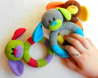 Baby toy Rattle Teething baby toy Grasping Teething Crochet Toys Dog Stuffed toys gift Baby shower gift Christmas gift