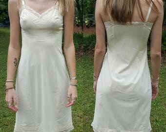 Vintage Slip - Shadow Line - Nightgown - Lace Lingerie - Night Gown Dress - Made in USA - 32 Tall - Creme Yellow