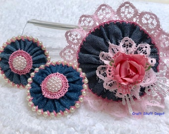 Handmade Flower, Denim Rosette, Package Topper, Floral Accessory, Home Decor, Hat Flower, Gift Bow, Journal, Bag Applique, Trim, Scrapbook