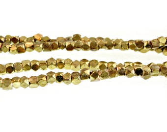 Faceted Gold Beads, Spacer Beads, Gold Brass Heishi, Diamond Cut, Size 3.5 mm x 3 mm African Brass Beads - 1 Strand (210 beads)