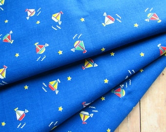 Darling Vintage Fabric Remnant - Sailboats - 13x58