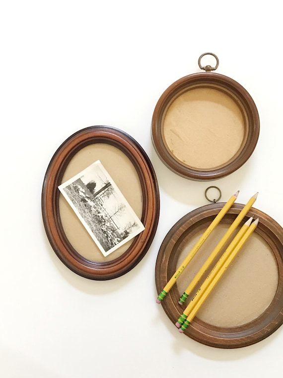 small oval mid century circle wood picture frame | wall hanging picture frame