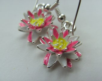 Pink and white, water lily, lily, earrings, Summer, 3d, by NewellsJewels on etsy