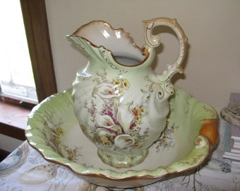 Stunning Antique Wash Basin & Pitcher - Embossed Green Gold!!  Full Size Ironstone Alum Lily Stoke on Trent England