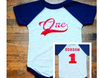 Boys First Birthday Outfit - Baseball First Birthday - 1st Birthday Baseball Shirt - Baseball Birthday Outfit - First Birthday Outfit Boy