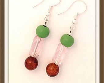 Handmade MWL pink, green and red earrings. 0079