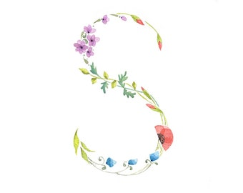 Watercolor painting letter S  initial floral monogram giclee print flowers illustration kids wall art decor nursery art by VApinx