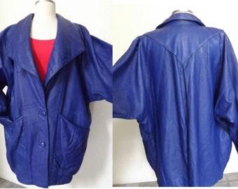 Vintage 90's Oversized Giant Lapels Asymmetrical Italian Leather Jacket -  Indigo / Purple Coat