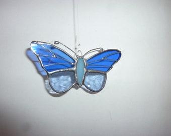 Stained glass buttrefly suncatcher.mini butterfly suncatcher,blue butterfly