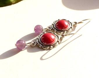 Amethyst and Silver 925, Amethyst earrings pearl earrings, Amethyst jewelry, french designer jewelry