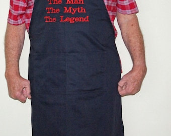 Funny Male Apron, Man Myth Legend Apron, Custom Personalized Birthday Gift With Name, Abuelo Banpa Deda, Pops Zeidy, Ships TODAY, AGFT 004