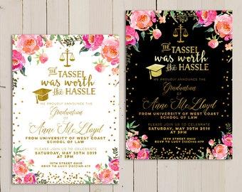 graduation law printable invitation, floral graduation law invitation, Law School Graduation Invitation Printable, Law Degree invitation
