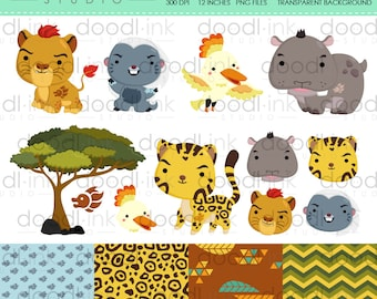SALE 50% !!! Lion Adventure & Friends Digital Clipart / Cute Forest Animal Clip Art / Digital Paper For Personal Use / INSTANT DOWNLOAD