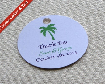 "Palm Tree Beach Wedding Favor Tag - Bridal Baby Shower Gift Tag - Custom Colors - Custom Wording - 2"" Round"