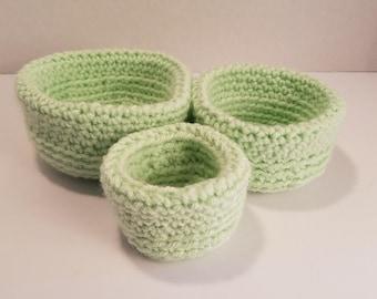 Soft crochet bowls
