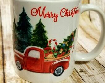 Christmas Coffee Mug, Coffee Mug Christmas Truck