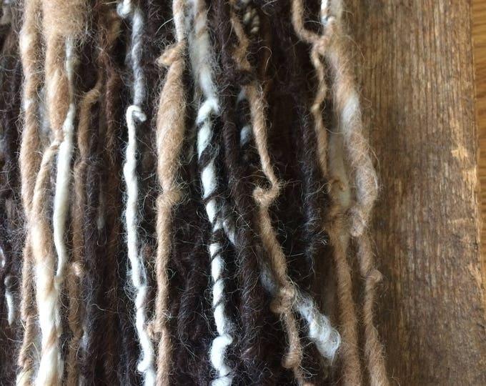 Natural colors alpaca handspun yarn, six natural undyed colors, 50 yards, handspun, black, brown, tan, grey, white, cream, art yarn