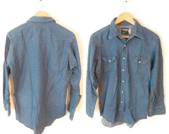 Wrangler Jean Chambray Western shirt size Large 16 33 Mens Pearl Snap