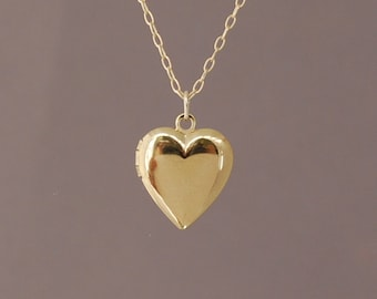 Small Gold Heart Locket Necklace also in Silver and Rose Gold