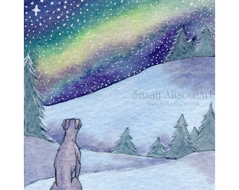 Whippet greyhound dog print 5x7 8x10 11x14  silent night snowy landscape lurcher sighthound winter from a Susan Alison watercolor painting