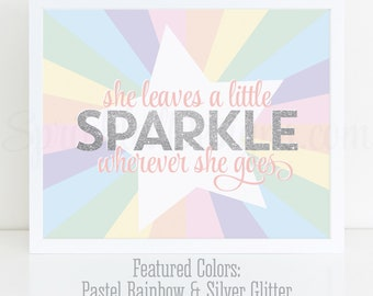 She Leaves A Little Sparkle Wherever She Goes Printable Sign, Rainbow Unicorn Birthday Party Decorations Unicorn Room Wall Art Nursery Decor