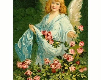 """Angel in a Rose Garden, Flowers, Blooms. 8x10"""" Cotton Canvas Print. Guardian Angel. FREE ship US"""