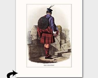 Clan MacGillivray Family Art Print w/Mat (Scottish Highlands Tartan, Fathers Day Gift) --- Matted Scotland Art
