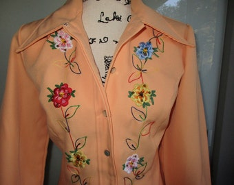 Pastel Orange Cowgirl Pant Suit by JC Penney! Medium to Large,Bell Bottoms 1970's