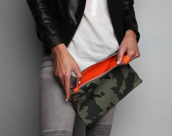 Mini G+I Jane Camo army green pouch+Olive green clutch+bright red interior+orange interior+pink interior camouflage+wristlet