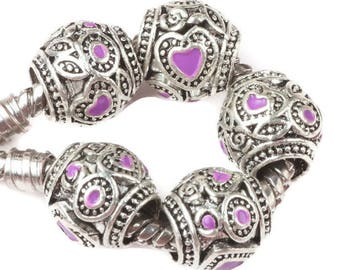 5 pcs Purple Enamel Heart Love Antique Silver Tone Barrel Beads, Heart Spacers Beads, Love Beads, Silver Beads,  10x8mm, USA Seller, C159
