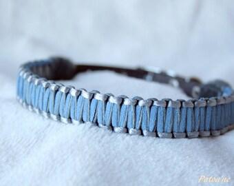 Collier pour petit chien tressé bleu et gris 25 à 30 cm