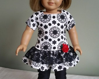 "American Girl doll black and white ruffled tunic with cropped leggings. 2-piece set for 18"" dolls."