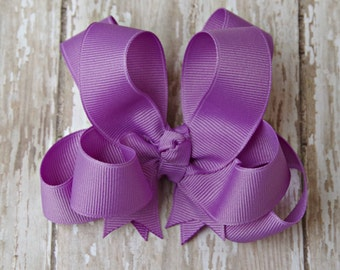 """Girls Hair Bow Dark Orchid 4"""" Boutique Layered Hairbow Lavender Purple Hairbows"""
