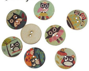 6 nice 20 mm wooden buttons