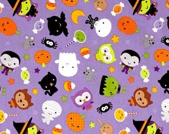 CUSTOM - Glow in the Dark Cotton Toddler Boy's Handmade Button Down Shirt - Halloween Ghouls on Purple - 3178