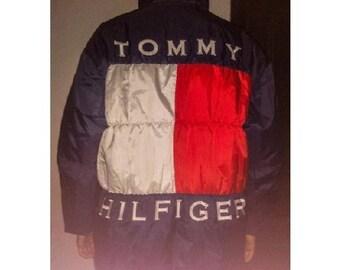 Tommy Hilfiger jacket, vintage Tommy sailing jacket of 90s hip-hop clothing, 1990s hip hop college jacket, OG, gangsta rap, size XL