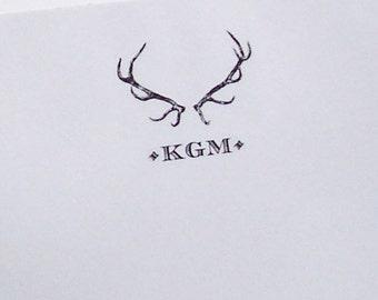 Personalized Antler Notepad, Deer , Elk Stag Victorian Vintage Inspired,Wedding Favor, Preppy Note Pad, Antique Monogrammed Woodland Forest