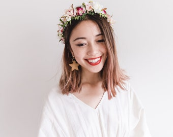 hanami bridal wedding flower crown // bohemian floral headpiece flower crown / rustic wedding crown / pink bright wedding flower crown