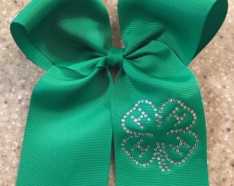4-H Hair Bow Green 4-H Club Bow